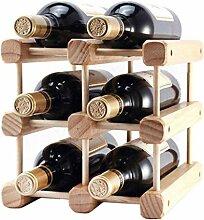 NYDZDM Wine Rack Weinregal aus Holz, klein, für 6
