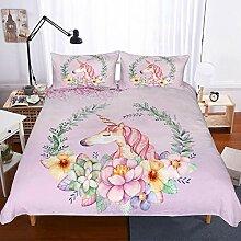 NYLIN Bettwäsche Karikatur Blumen Einhorn für