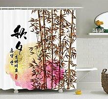 Nyngei Bambus Haus Dekor Duschvorhang Set Bambus