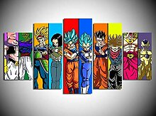 NZPRI Leinwanddrucke 5 Stücke Dragon Ball Figuren