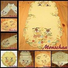 O 450 Ostern Tischdecke/Tischläufer Leinen-Optik Gelb/Bunt Osterglocke Stickerei (25 x 160cm)