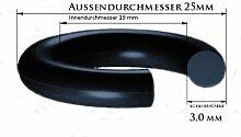 O-Ringe 20 Stück 19 x 3,0 mm Werkstoff: NBR (Shore 70°) Innen-Ø:19,00mm Schnur-Ø:2,50mm, Außendurchmesser: 25 mm