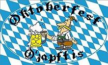 O´zapft is Oktoberfest - Bayern Dekoration Flagge Grösse 1,50x0,90m Fahne mit Rauten