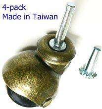 Oajen 2 antique brass ball caster with PVC ball, socket stem, pack of 4 by Oajen