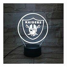 Oakland Raiders Nachtlampe Schlafzimmer Usb Rgb