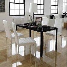 Oakome Esstisch-Set, 105 cm, 4 Stühle, Weiß