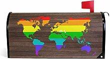 Oarencol Weltkarte Regenbogen Gay Bunte Vintage