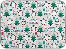Oarenol Weihnachtsgeschirr-Trockenmatte, Pinguine,