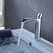 OBEEONR Chrom Wasserhahn Waschbecken Armatur Kupfer Waschtischarmatur