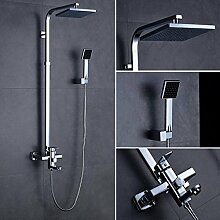 OBEEONR Duschset Duschsystem Brausegarnitur Duschstange + Handbrause + Überkopfbrause(20x20CM) + 150CM Metall-Duschschlauch
