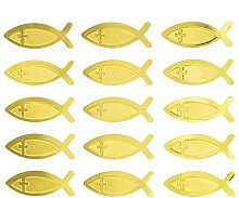 Oblique Unique® Fisch Kreuz Sticker Gold