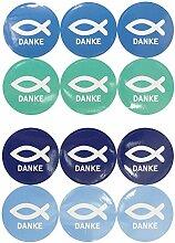 Oblique Unique® Fisch Sticker Danke 24 STK.