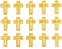 Oblique Unique® Kreuz Sticker Aufkleber Set Gold