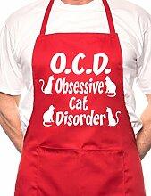 Obsessive Cat Disorder BBQ Kochen Funny Neuheit Schürze, baumwolle, rot, Einheitsgröße