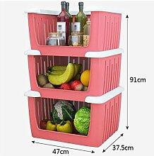 Obst- und Gemüsekorb Regal Plastikkombination Leicht zu nehmen Küchenkorb Gemüse Obst Lagerung Süßigkeiten Farben Drei Schichten grün ( Farbe : Pink )