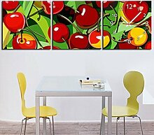 Obst Wanduhr Rahmenlose Dekoration Fruchtfest Leinwand gemalt Wanduhr , 60*60cm