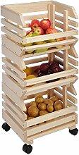 Obsthorde mit Rollen, Holz, Stapelkiste, Kartoffelkiste Gemüsekiste Aufbewahrung