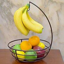 Obstkorb Eisenregal Schale mit Bananenhaken