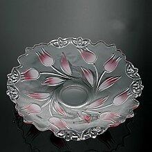 Obstkorb teller,Glas obst korb schüssel stand kompott für hochzeitsfest gäste unterhaltungsveranstaltungen anzeigen-B D13.8*H2.6inch(35*6.5cm)