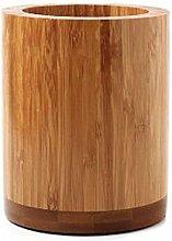 OC Design Umweltfreundlich natürliches Bambus Holz Küchenutensilien Halterung–Rund rutschfeste–Löffel Spatel Stäbchen Organisation–10,2x 12,7cm