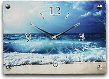 Ocean Luxus Designer Wanduhr Funkuhr aus Schiefer *Made in Germany leise ohne ticken WS128FL