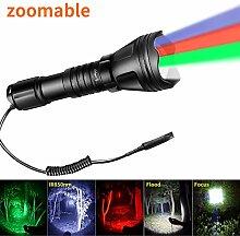Odepro KL52 zoombare Taschenlampe rot grün weiß