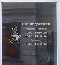 Öffnungszeiten Cafè Schaufensterbeschriftung