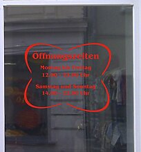 Öffnungszeiten Fiore Schaufensterbeschriftung