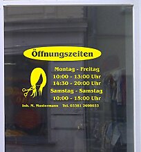 Öffnungszeiten Friseur Schaufensterbeschriftung