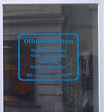 Öffnungszeiten Klassik Schaufensterbeschriftung