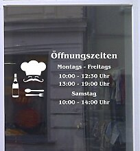 Öffnungszeiten Koch Schaufensterbeschriftung