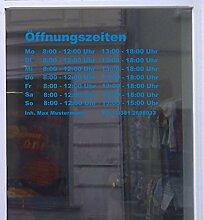 Öffnungszeiten Maxi Schaufensterbeschriftung