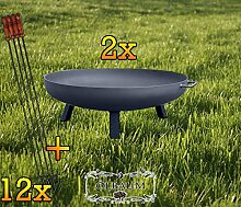ÖLBAUM 2X XXL Feuerschale ca. 100 cm MIT