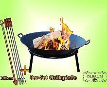 Oelbaum Feuerkorb Grill Feuerschale aus Gusseisen