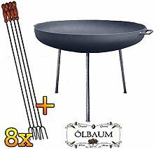 ÖLBAUM Massive XXL Feuerschale ca. 100 cm mit 8