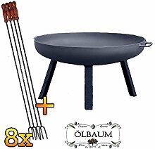 ÖLBAUM Massive XXL Feuerschale ca. 60 cm mit 8