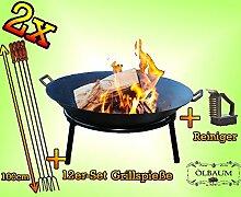 Oelbaum Set 2 Grill Feuerschale aus Gusseisen mit