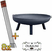 ÖLBAUM Set XXL Feuerschale ca. 100 cm inkl. 8