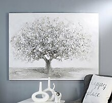 Ölbild Big Tree weiss/grau/silber 120x90 cm