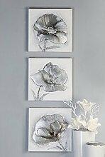 Ölbild Flowers auf Leinen mit Alu Applikationen