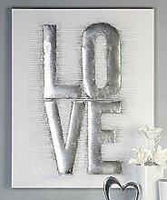 Ölbild Love weiss/grau/silber 80x100 cm