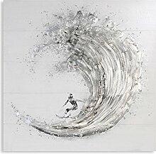 Ölbild Surfer weiss/grau/silber 100x100