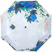 Ölgemälde 3 Falten Sonnenschirm Sonnenschutz Anti-UV Regenschirm Für Frauen,BlueFlowers-freesize