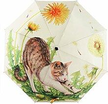 Ölgemälde 3 Falten Sonnenschirm Sonnenschutz Anti-UV Regenschirm Für Frauen,Cats-freesize