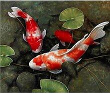 Ölgemälde Chinesische Fische Lotus Leinwand Feng