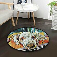 Ölgemälde Dackel Hündchen Runde Teppich für