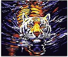 Ölgemälde Nach Zahlen Wasser Tiger Diy