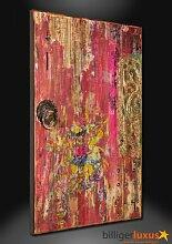 Ölgemälde rot gold Fenster Holzoptik 120x80 cm
