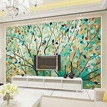 Ölgemälde Wandbild Cartoon Blumen Baum