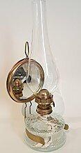 Oellampe antikes Design mit Spiegel befüllbar mit Fuß aus transparentem Glas dekorative Petroleumlampe mit verziertem gold farbigen Dochthalter in Messinghalterung mundgeblasen Höhe ca. 32,5 cm